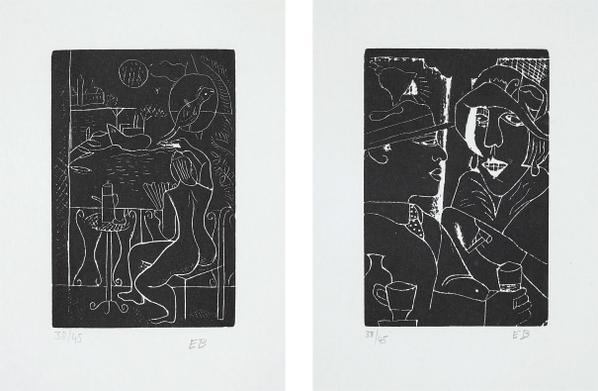 Edward Burra-Fleets Inn; And Two At The Bar, From Woodcuts 1928-29-1971