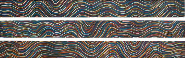 Sol LeWitt-Wavy Bands Of Color (Triptych)-1997