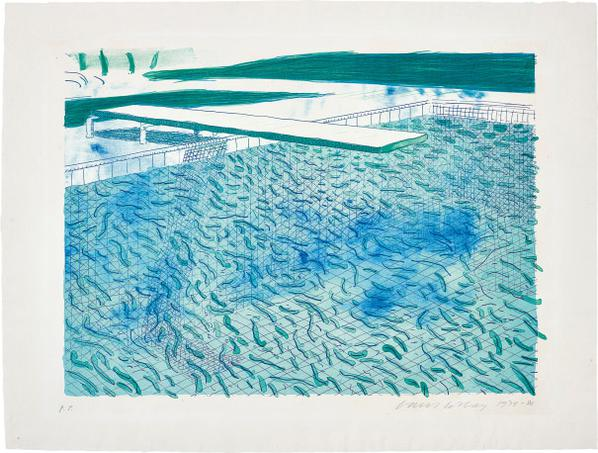 David Hockney-Lithograph Of Water Made Of Lines, A Green Wash, And A Light Blue Wash-1980