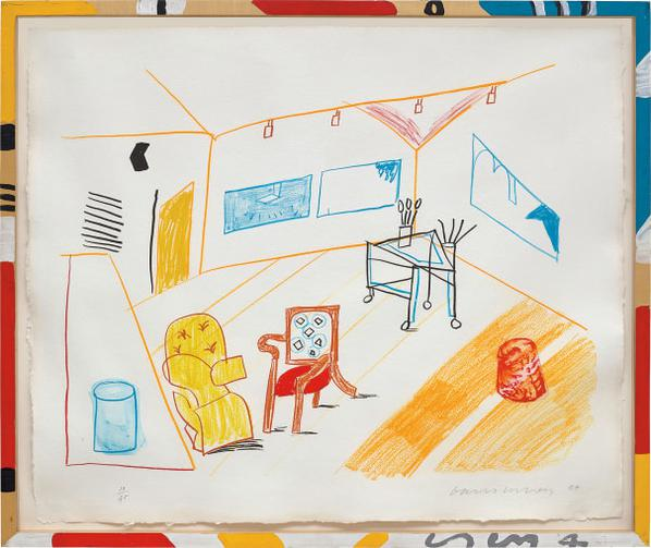 David Hockney-Conversation In The Studio, From Moving Focus Series-1984