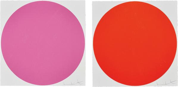 Damien Hirst-Quisqualic Acid; And Mepartricin, From 40 Woodcut Spots-2011