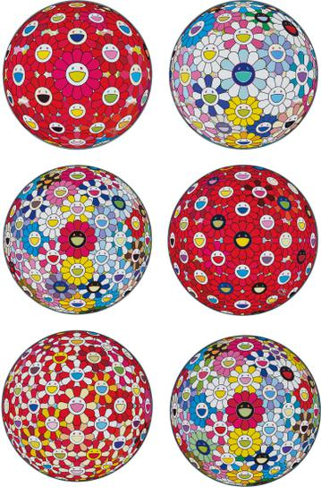 Takashi Murakami-Thinking Matter (Red); Cosmic Power; Space Show; Flowerball: Bright Red; Flowerball: Koi/Red-Crowned Crane Vermilion; And Hold Me Tight-2017