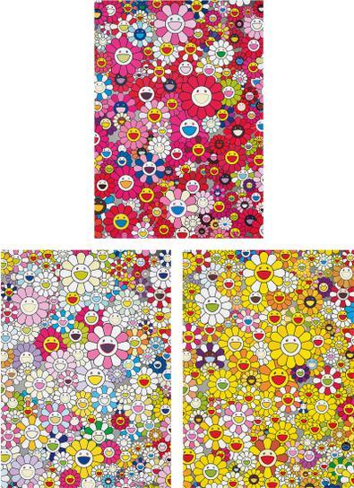 Takashi Murakami-An Homage To Monogold 1960 A; An Homage To Monopink 1960 A, 2012; And An Homage To Yves Klein, Multicolor A-2012