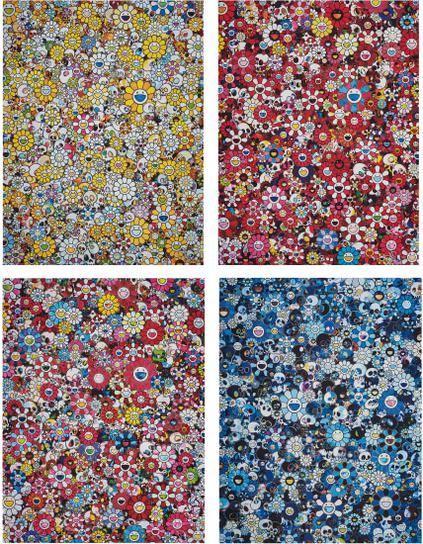 Takashi Murakami-Mg: 1960 → 2012; Skulls & Flowers Red; Dazzling Circus: Embrace Peace And Darkness Within Thy Heart; And Blue Flower & Skulls-2018