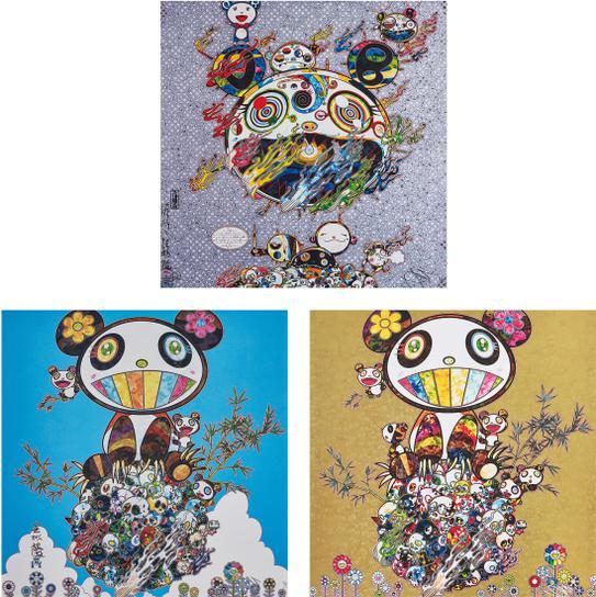 Takashi Murakami-Chaos; Panda Family- Happiness; And Panda Family-2016