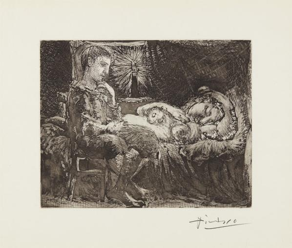 Pablo Picasso-Garcon Et Dormeuse A La Chandelle (Boy And Sleeping Woman By Candlelight), Plate 26 From La Suite Vollard-1934