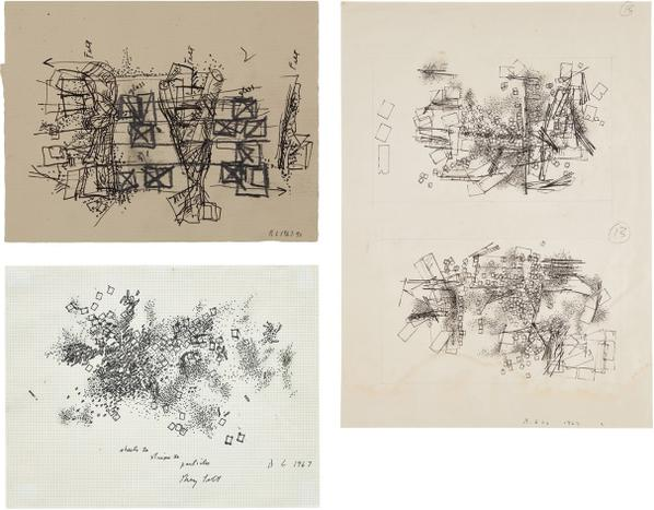 Barry Le Va-Three Works: (I) Double Drawing; (II) Untitled (Feld & Glas); (III) Sheets To Strips To Particles-1969