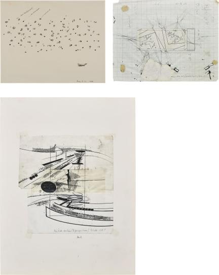 Barry Le Va-Three Works: (I) Particles; (II) Corner Sections (Separately Projected); (III) Partition Sections (3 Perspectives)-1968