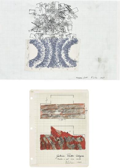 Barry Le Va-Two Works: (I) Maroon Felt; (II) Untitled-1968