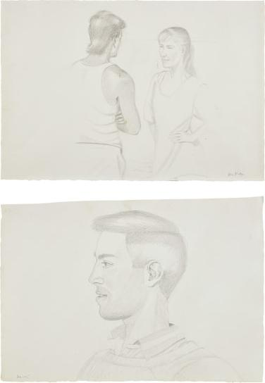 Alex Katz-Two Works: (I) Beach Encounter; (II) Vincent-1990