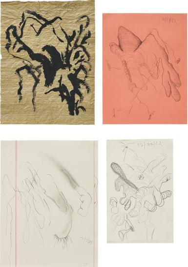 Carroll Dunham-Four Works: (I) Untitled (11/7/82); (II) Untitled (11/13/82); (III) Untitled (12/24/82); (IV) Untitled (7/7/83)-1982