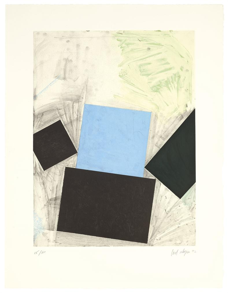 Joel Shapiro-Untitled (Blue Square/With Green)-1992