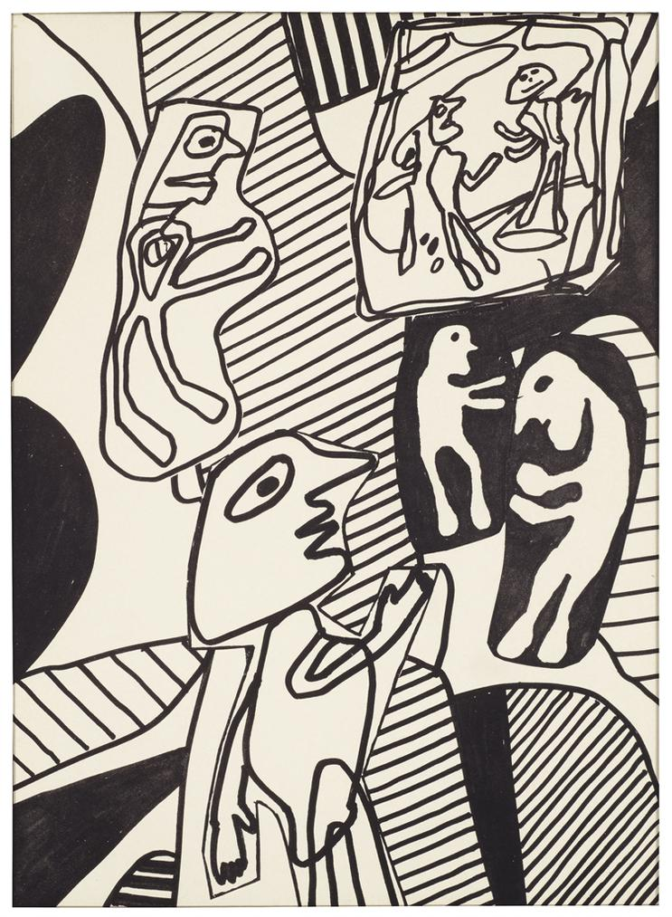 Jean Dubuffet-Situation I, From Il Y A, Poemes De Jacques Berne-1979