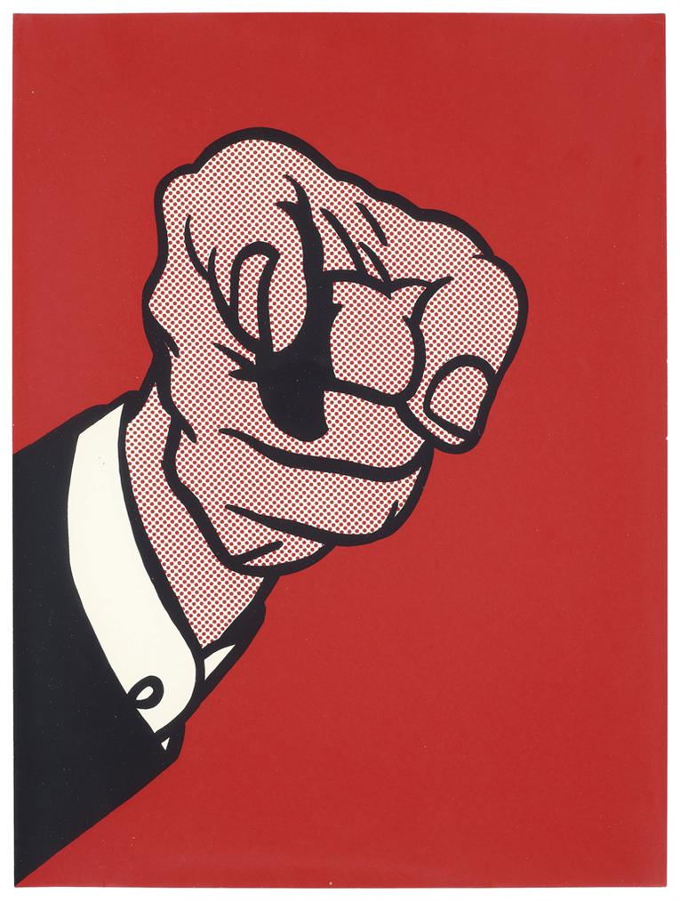 Roy Lichtenstein-Finger Pointing, From The New York Collection For Stockholm-1973