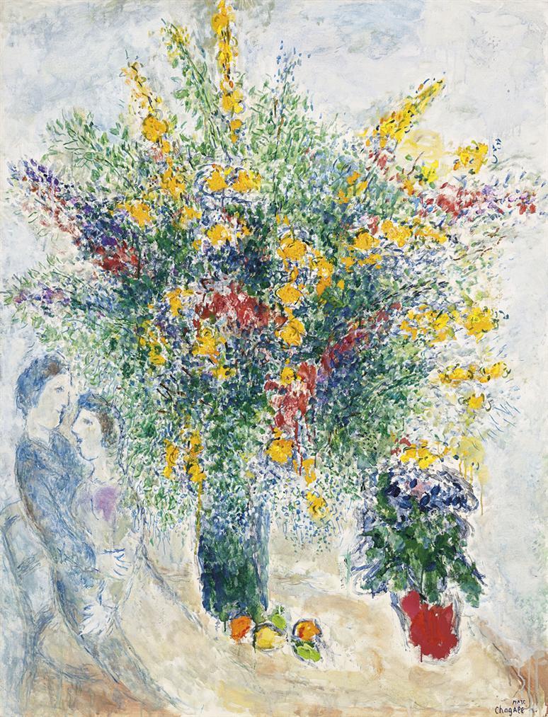 Marc Chagall-Fleurs Dans La Lumiere-1978