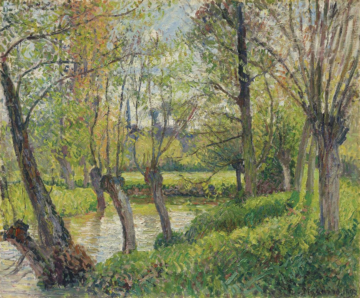 Camille Pissarro-Bords De Lepte A Eragny, Soleil Couchant-1897