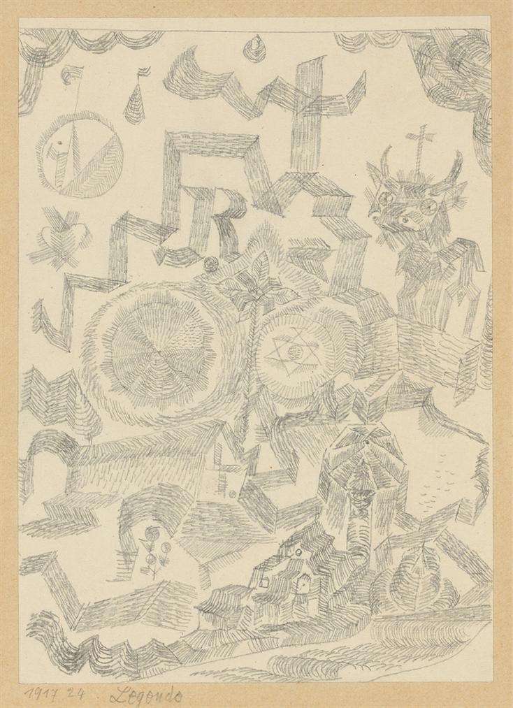 Paul Klee-Legende - Gedenkblatt Mit D. Heil Stier (Legend - Memorial Page With Holy Bull)-1917
