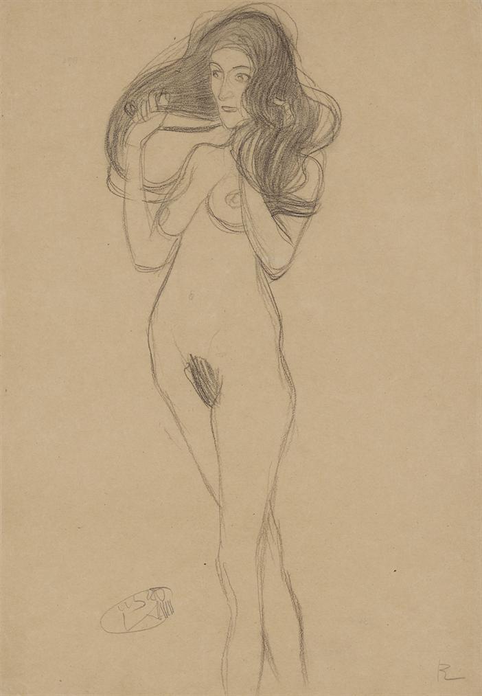 Gustav Klimt-Stehender Madchenakt Nach Links, Die Haare Mit Den Handen Haltend (Standing Female Nude Turning Left, Holding Her Hair)-1901