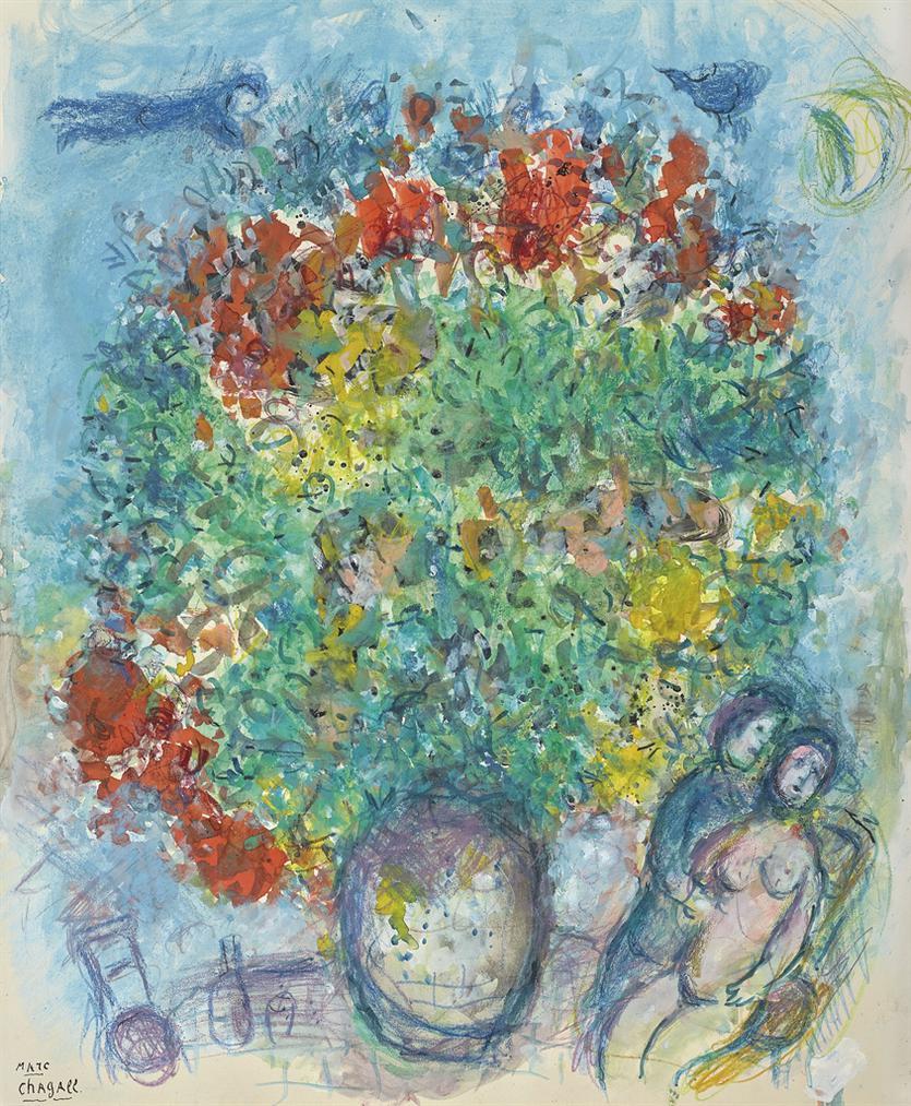 Marc Chagall-Le Bouquet Sur Fond Bleu-1980