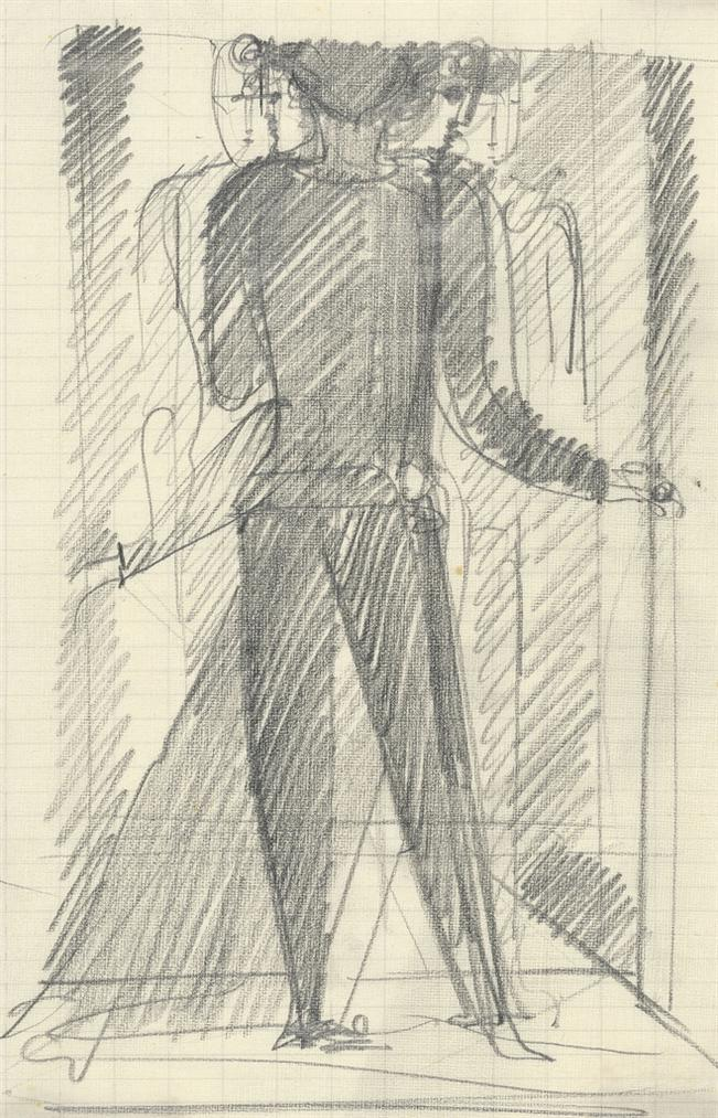 Oskar Schlemmer-Dunkle Figur Im Vordergrund-1930