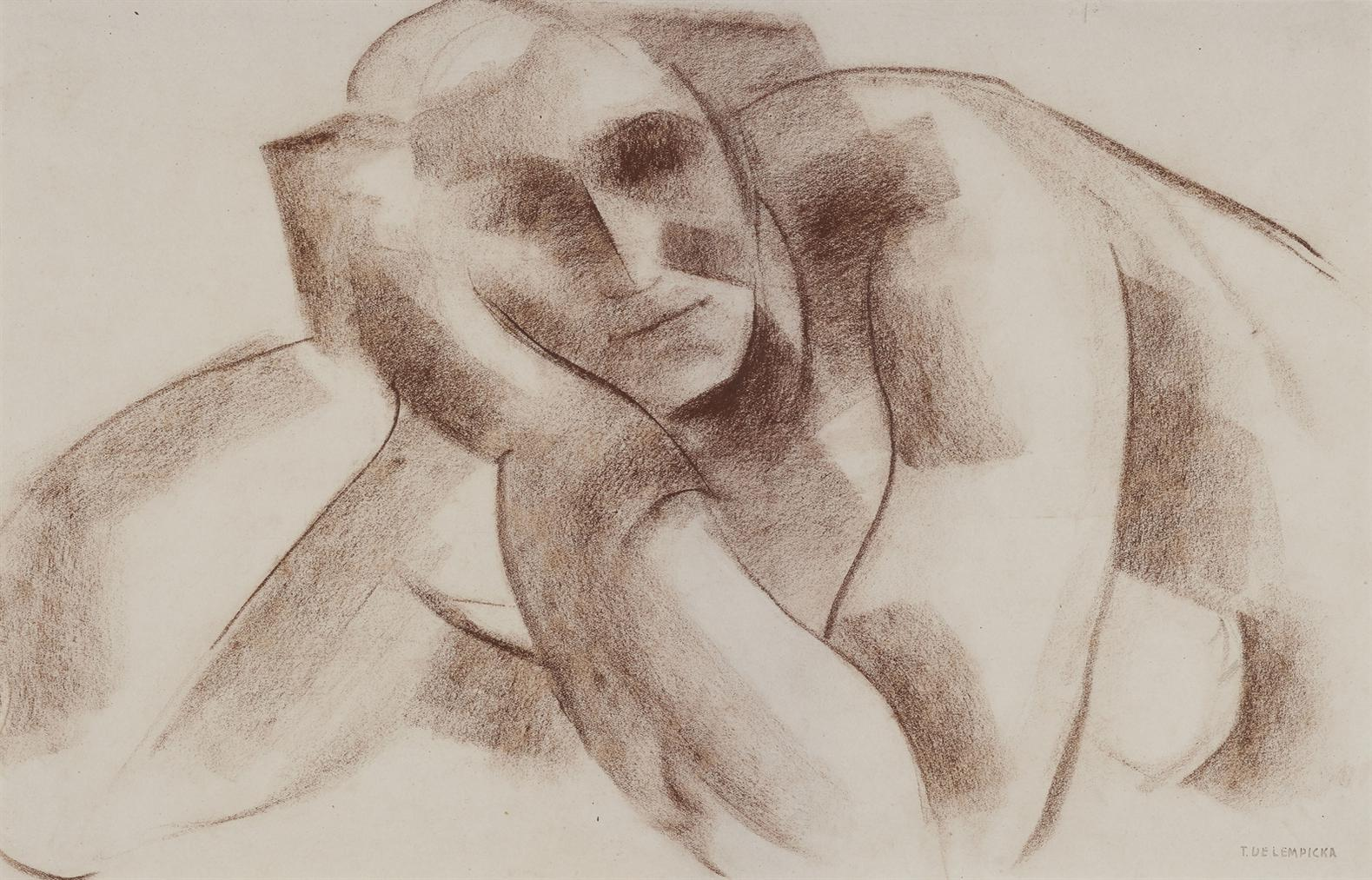 Tamara de Lempicka-Croquis (Nu Allonge III)-1925