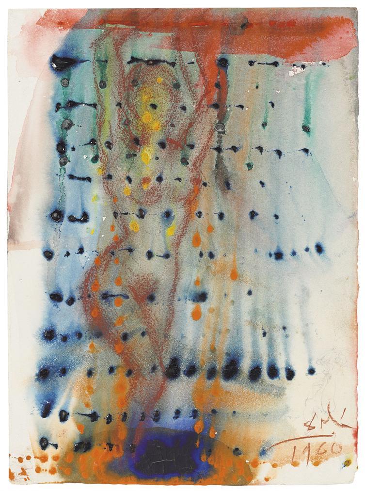 Salvador Dali-Danseuse Dharem Derriere Un Rideau De Gouttes Colores-1960
