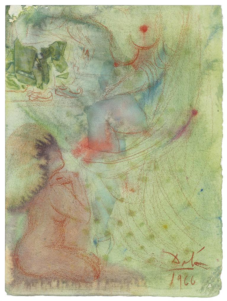 Salvador Dali-Femme Nue Assise Observant Une Danseuse-1966