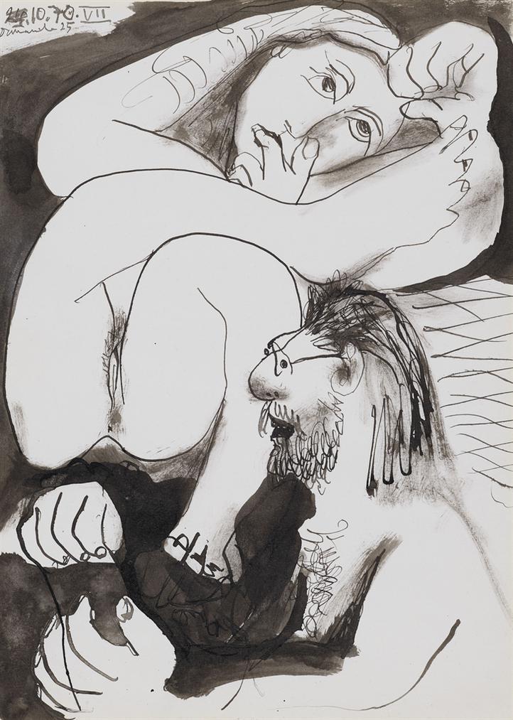 Pablo Picasso-Homme Barbu Et Femme Nue-1970