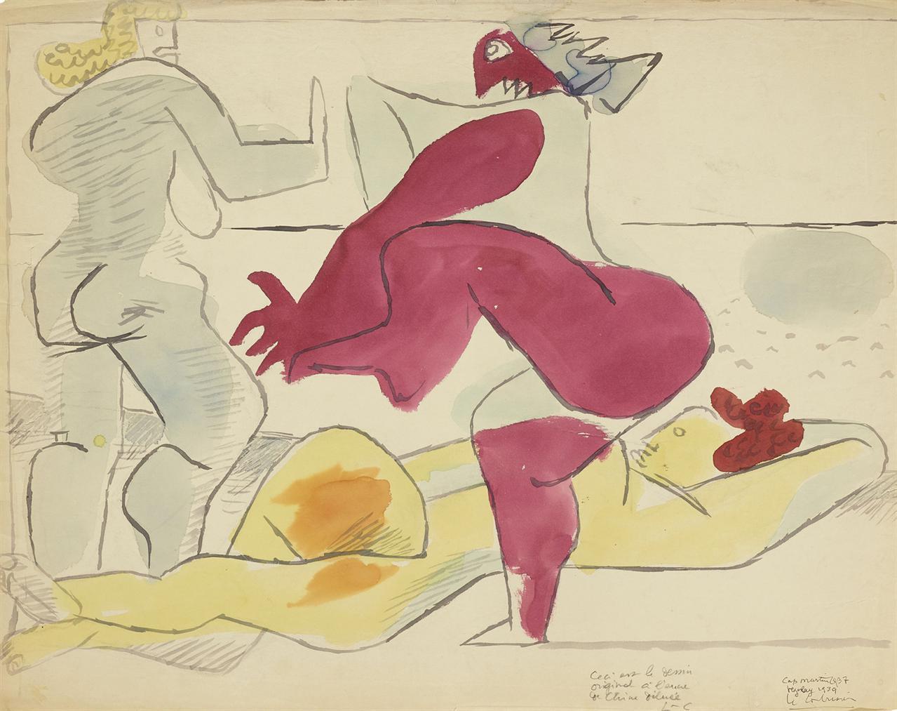 Le Corbusier-Etude Sur Le Theme De Baigneuses Et Rochers-1939