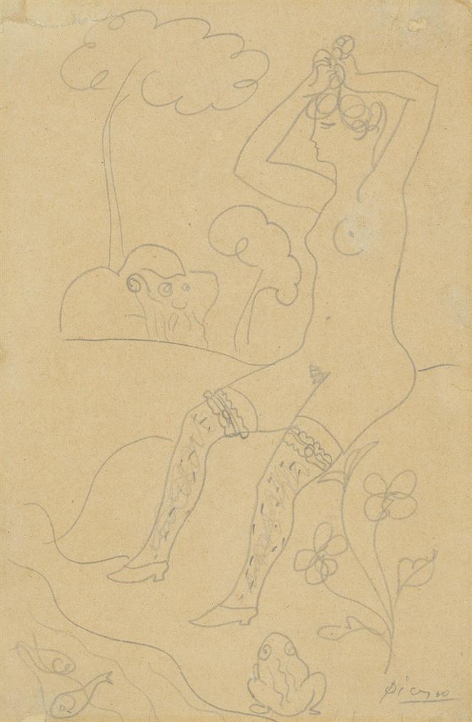 Pablo Picasso-Baigneuse Au Bord Dun Ruisseau Et Un Vieillard-1904