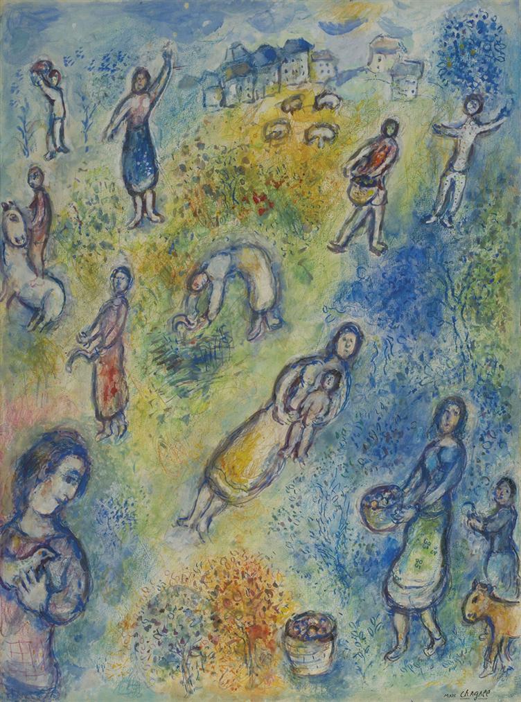 Marc Chagall-Lete, Les Moissonneuses (Les Quatres Saisons)-1974