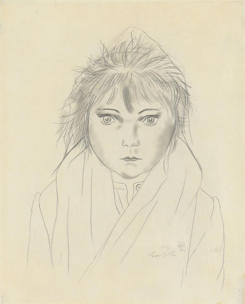 Tsuguharu Foujita-Fillette Au Capuchon-1929