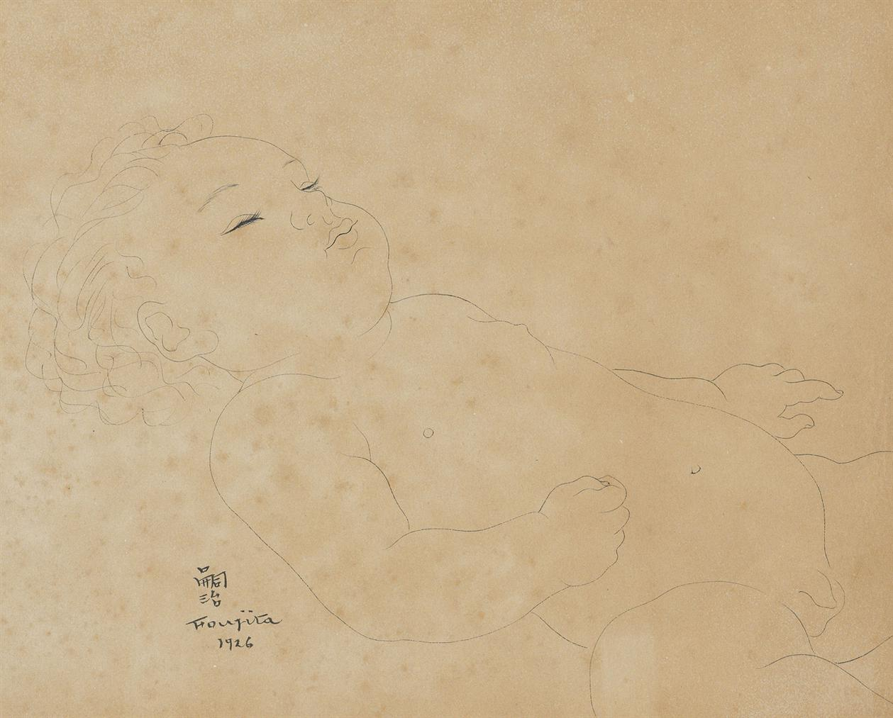Tsuguharu Foujita-Bebe Endormi-1926