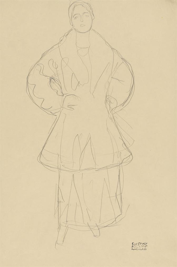 Gustav Klimt-Stehend Von Vorne (Friederike Maria Beer)-1916