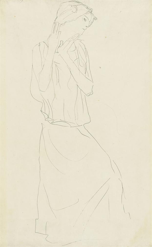 Gustav Klimt-Stehend Mit Erhobenem Unterarmen Nach Rechts (Studie Fur Die Tanzerin/Die Erwartung)-1907