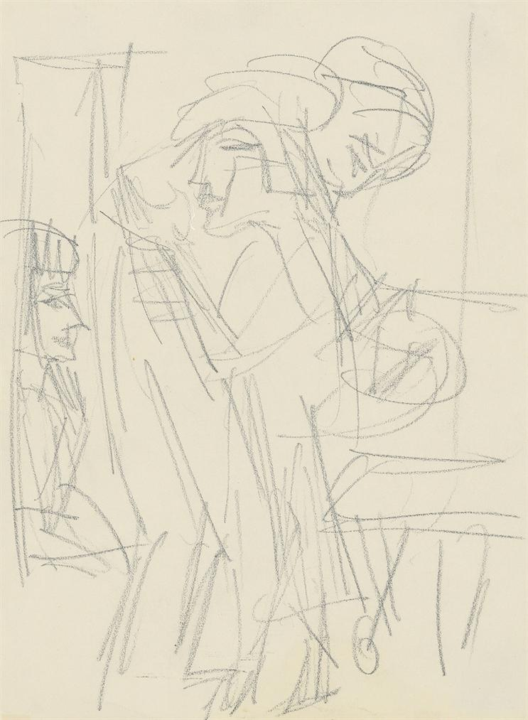Ernst Ludwig Kirchner-Menschen Im Raum (Drei Frauen In Einem Raum)-1921