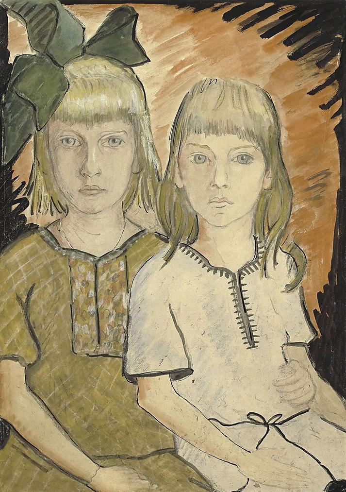 Otto Mueller-Helga Und Eva Goerger-1917