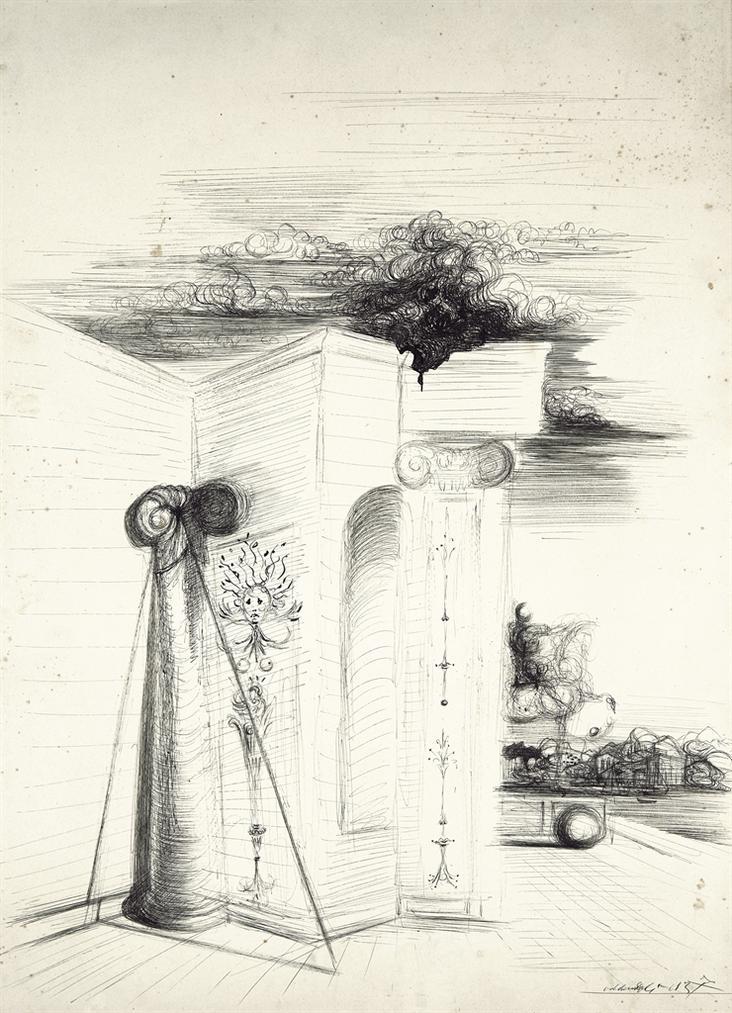 Salvador Dali-Etude Darchitecture Avec Port A Larriere-Plan-1937