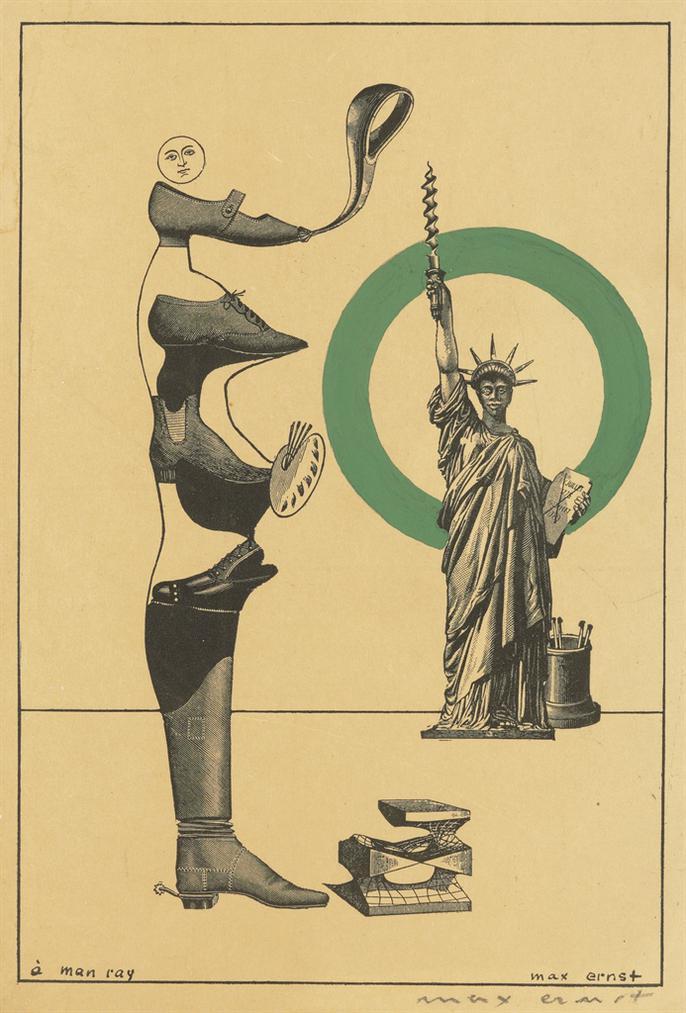 Max Ernst-Gedruckte Karte Fur Die Ausstellung Man Ray, Peintures & Objets, Paris, Aux Cahiers Dart, 15.-30. 11. 1935-1935