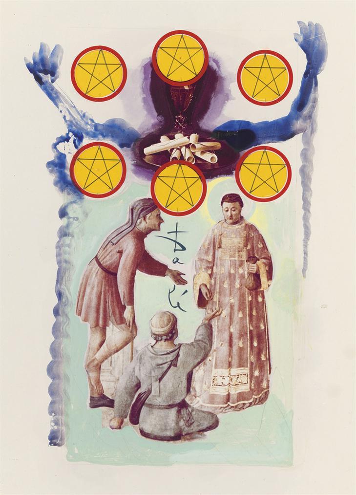 Salvador Dali-Six De Pentacles, Arcane Mineur, Projet Pour Le Jeu De Carte Le Tarot Universel De Salvador Dali-1971