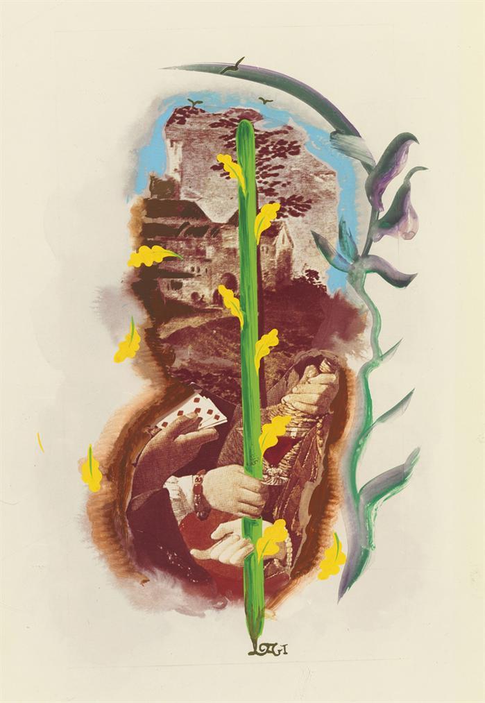 Salvador Dali-Un De Baton, Arcane Mineur, Projet Pour Le Jeu De Carte Le Tarot Universel De Salvador Dali-1971