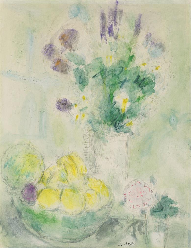 Marc Chagall-Fleurs Et Fruits-1949