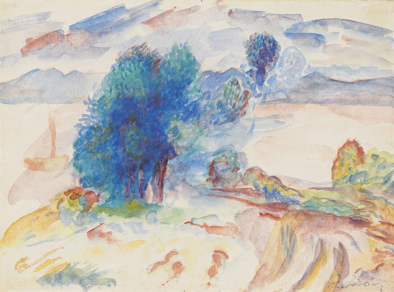 Pierre-Auguste Renoir-Arbres Au Bord De Leau Et Voilier-1895