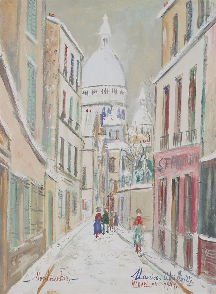 Maurice Utrillo-Rue Saint-Rustique A Montmarte, Sous La Neige-1941