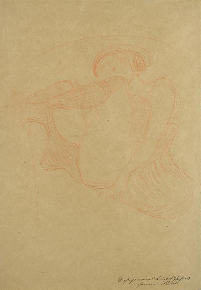 Gustav Klimt-Im Lehnstuhl Sitzende Mit Angezogenen Beinen (Studie Fur Danae)-1903