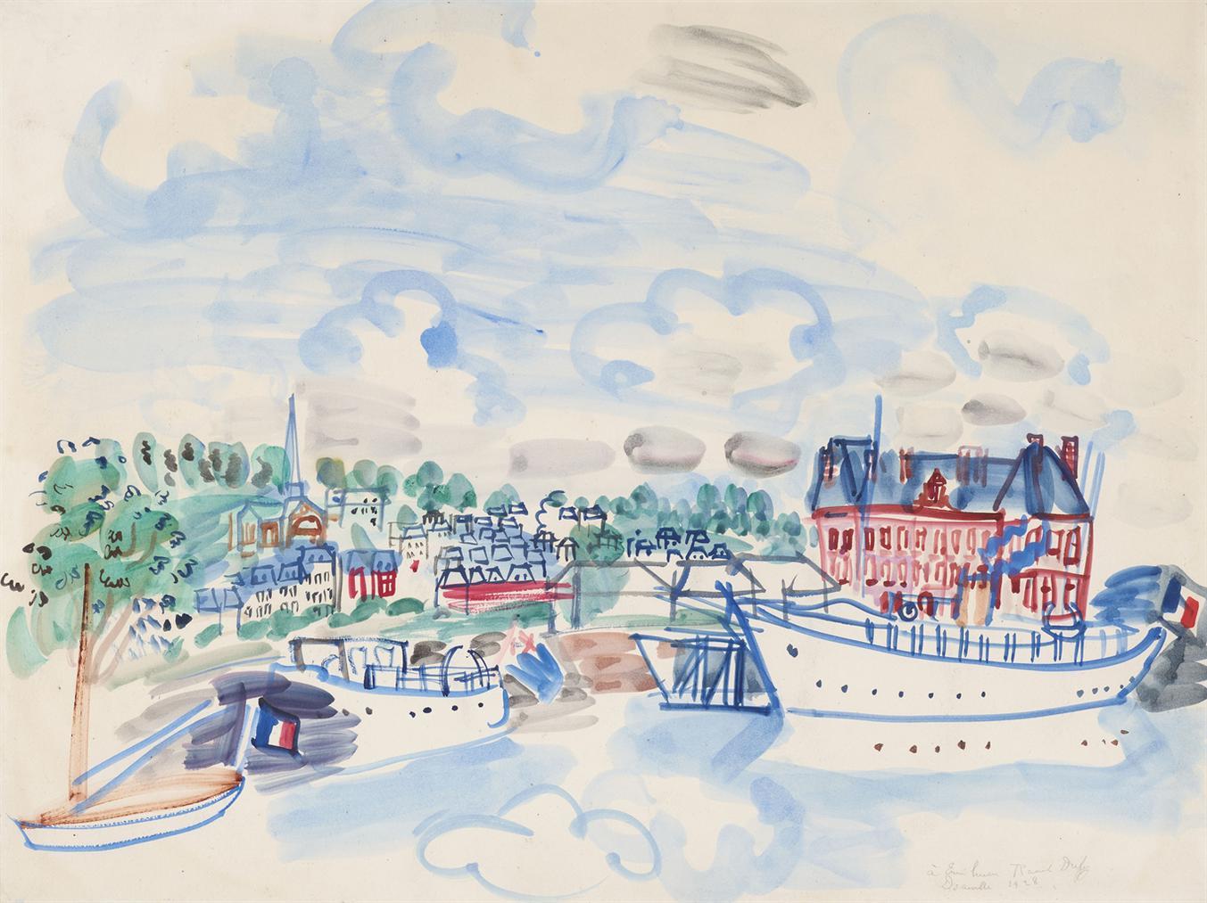 Raoul Dufy-Deauville, Bateaux A Quai-1928