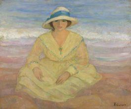 Henri Lebasque-Jeune Fille Assise Sur La Plage-1922