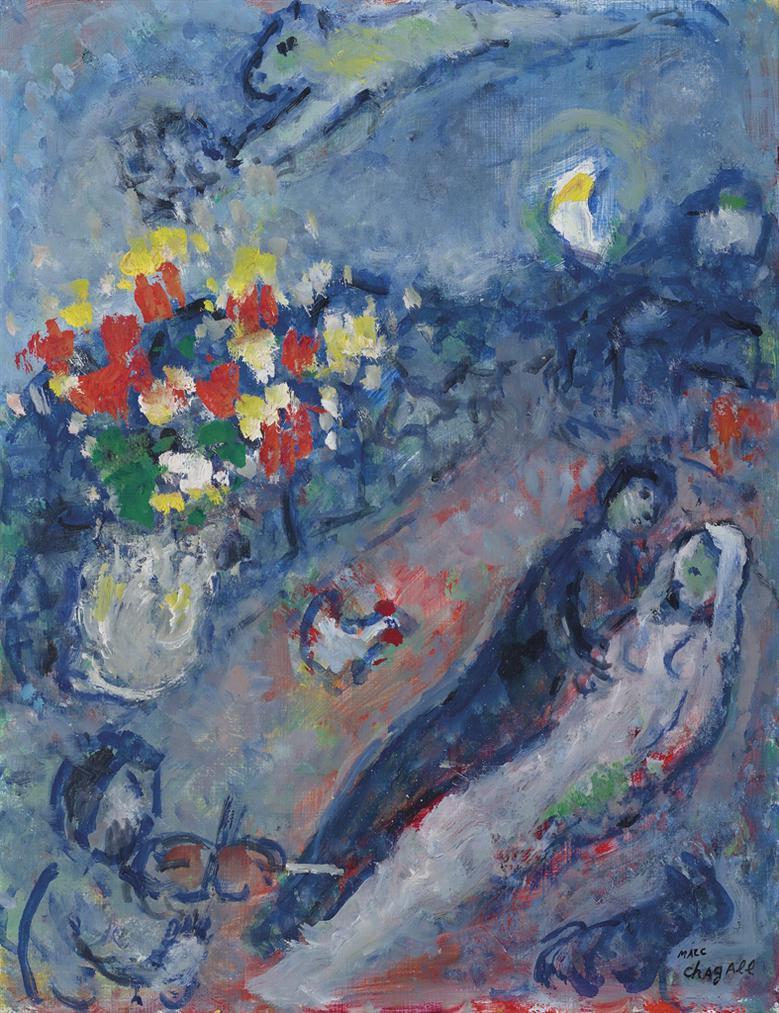 Marc Chagall-Couple Au Violoniste-1980