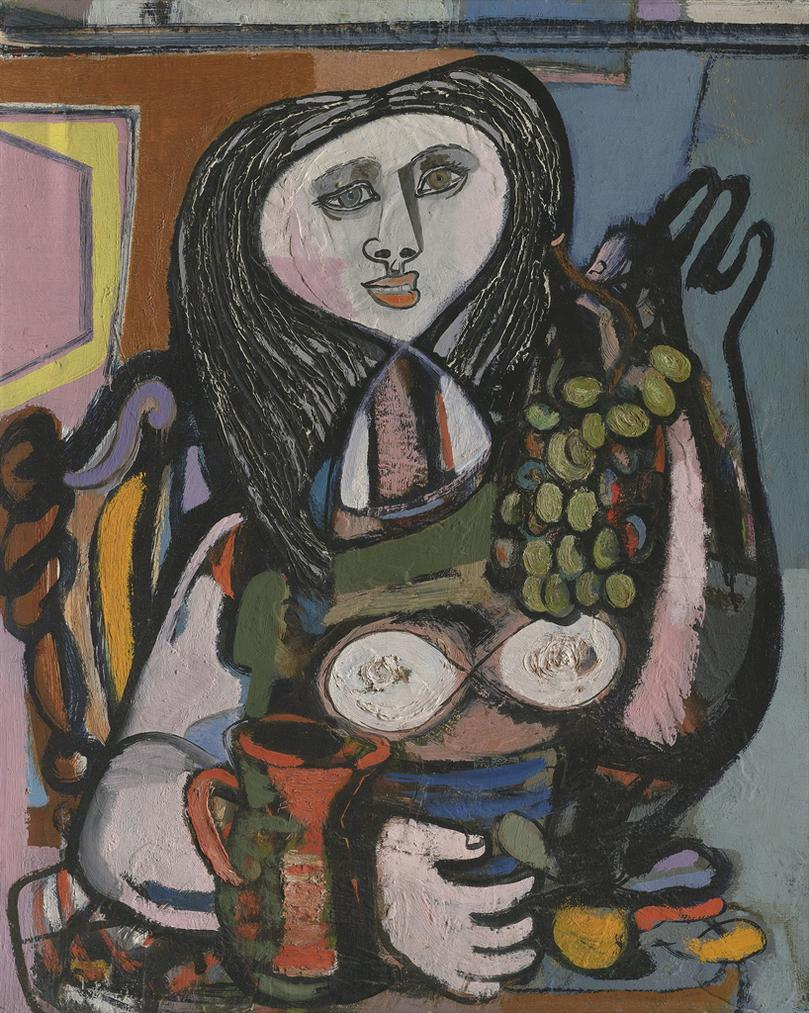 Jankel Adler-Woman With Grapes-