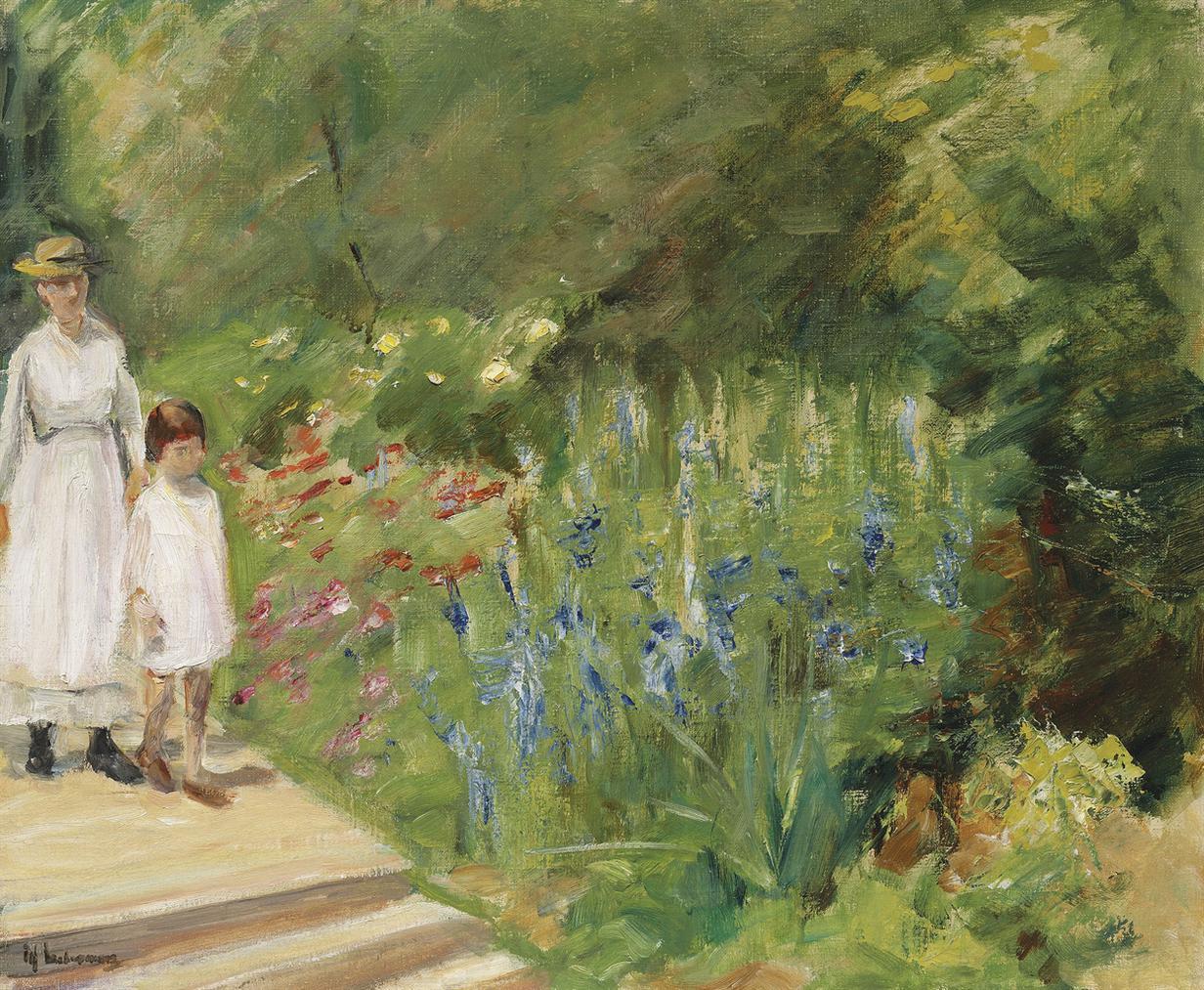 Max Liebermann-Enkelin Und Kinderfrau Im Nutzgarten-1923